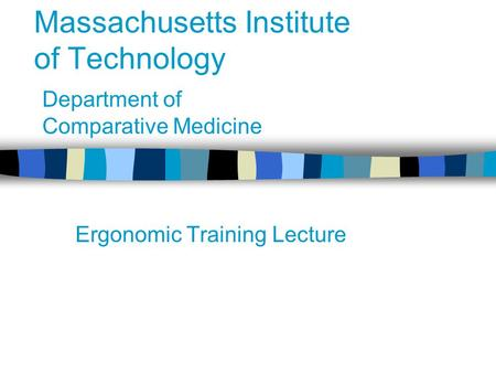 Massachusetts Institute of Technology Ergonomic Training Lecture Department of Comparative Medicine.