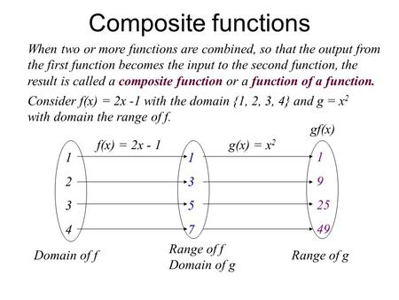 Composite functions When two or more functions are combined, so that the output from the first function becomes the input to the second function, the result.