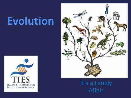 Evolution It's a Family Affair. Today's Lesson Diversity and Evolution of Living Organisms I. The scientific theory of evolution is the organizing principle.