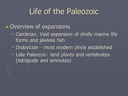 Life of the Paleozoic ► Overview of expansions  Cambrian, Vast expansion of shelly marine life forms and jawless fish  Ordovician - most modern phyla.