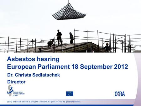 Safety and health at work is everyone's concern. It's good for you. It's good for business. Asbestos hearing European Parliament 18 September 2012 Dr.