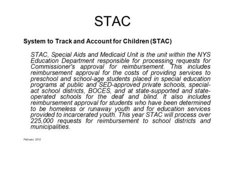 STAC System to Track and Account for Children (STAC)