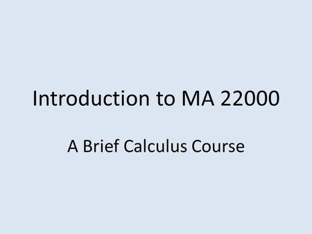 A Brief Calculus Course
