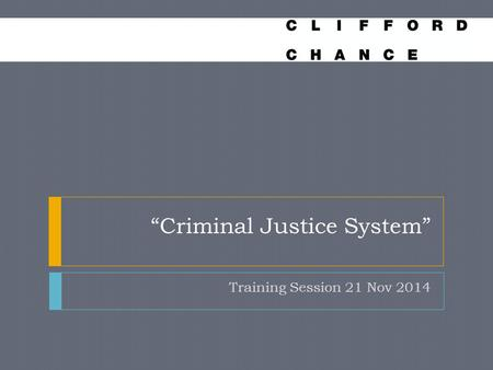 """Criminal Justice System"" Training Session 21 Nov 2014."
