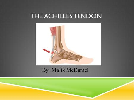 THE ACHILLES TENDON By: Malik McDaniel. SIDE EFFECTS IN ATHLETES Achilles Tendon Injury An Achilles tendon injury affects professional and amateur athletes.