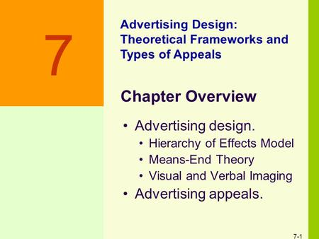 7-1 Chapter Overview Advertising design. Hierarchy of Effects Model Means-End Theory Visual and Verbal Imaging Advertising appeals. Advertising Design: