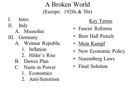 A Broken World (Europe: 1920s & 30s) I.Intro II.Italy A.Mussolini III.Germany A.Weimar Republic 1.Inflation 2.Hitler's Rise B.Dawes Plan C.Nazis in Power.