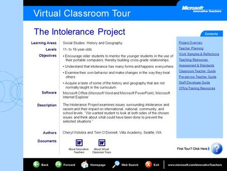 The Intolerance Project Project Overview Teacher Planning Work Samples & Reflections Teaching Resources Assessment & Standards Classroom Teacher Guide.