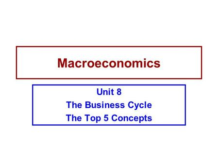 Unit 8 The Business Cycle The Top 5 Concepts