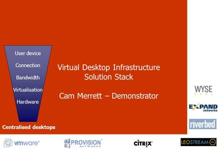 Virtual Desktop Infrastructure Solution Stack Cam Merrett – Demonstrator User device Connection Bandwidth Virtualisation Hardware Centralised desktops.