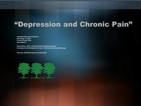 """Depression and Chronic Pain"" Agrability National Conference November 18, 2004 Crowne Plaza Hotel Springfield, IL David Weis, LCPC, Chestnut Health Systems."