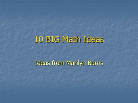 Ideas from Marilyn Burns