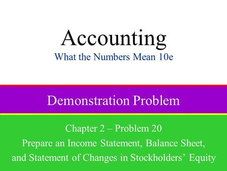 Demonstration Problem Chapter 2 – Problem 20 Prepare an Income Statement, Balance Sheet, and Statement of Changes in Stockholders' Equity Accounting What.