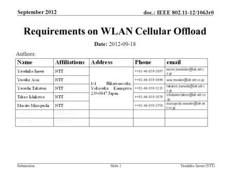Submission doc.: IEEE 802.11-12/1063r0 September 2012 Yasuhiko Inoue (NTT)Slide 1 Requirements on WLAN Cellular Offload Date: 2012-09-18 Authors:
