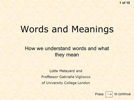 Words and Meanings How we understand words and what they mean 1 of 10