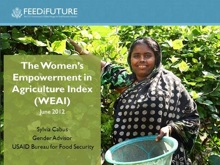 The Women's Empowerment in Agriculture Index (WEAI) June 2012 Sylvia Cabus Gender Advisor USAID Bureau for Food Security.
