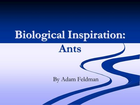 "Biological Inspiration: Ants By Adam Feldman. ""Encounter Patterns"" in Ant Colonies Ants communicate through the use of pheromones perceived through their."