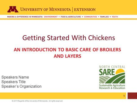 1 © 2011 Regents of the University of Minnesota. All rights reserved. 11 Getting Started With Chickens AN INTRODUCTION TO BASIC CARE OF BROILERS AND LAYERS.