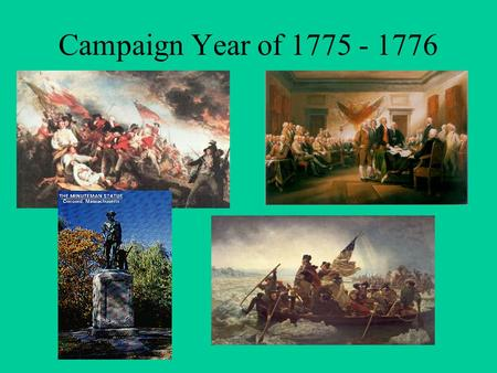 Campaign Year of 1775 - 1776. American Advantages and Disadvantages Advantages  Fighting for a cause  Familiar with the territory  Familiar with guns.