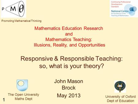 1 Responsive & Responsible Teaching: so, what is your theory? Mathematics Education Research and Mathematics Teaching: Illusions, Reality, and Opportunities.