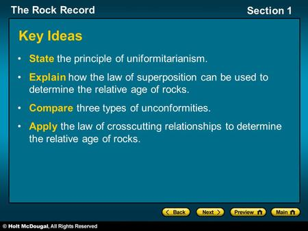 The Rock Record Section 1 Key Ideas State the principle of uniformitarianism. Explain how the law of superposition can be used to determine the relative.