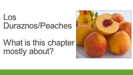 Los Duraznos/Peaches What is this chapter mostly about?