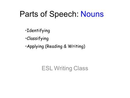Parts of Speech: Nouns ESL Writing Class Identifying Classifying Applying (Reading & Writing)