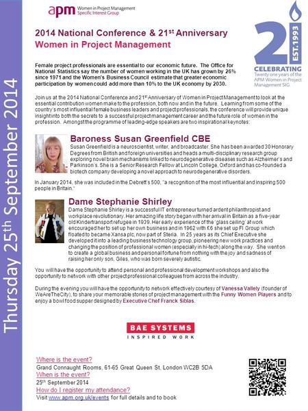 Thursday 25 th September 2014 2014 National Conference & 21 st Anniversary Women in Project Management Where is the event? Grand Connaught Rooms, 61-65.