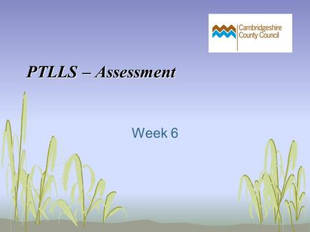 PTLLS – Assessment Week 6. In today's session we will: Discuss the purpose of assessment Explore types of assessment Examine the application of 'paper-light'