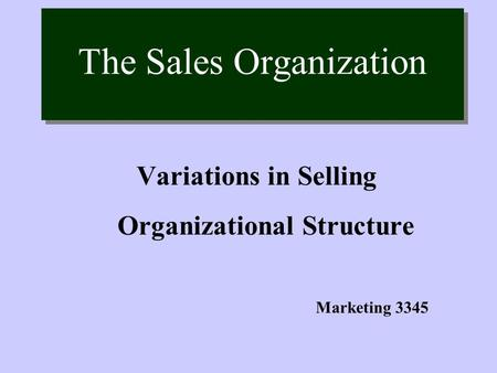 The Sales Organization Variations in Selling Organizational Structure Marketing 3345.