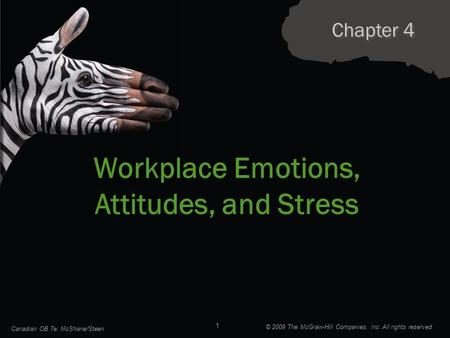 Chapter 4 Workplace Emotions, Attitudes, and Stress Canadian OB 7e: McShane/Steen 1 © 2009 The McGraw-Hill Companies, Inc. All rights reserved.