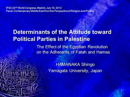 Determinants of the Attitude toward Political Parties in Palestine The Effect of the Egyptian Revolution on the Adherents of Fatah and Hamas HAMANAKA Shingo.