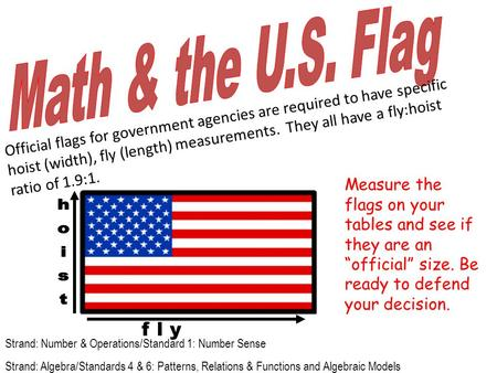 Official flags for government agencies are required to have specific hoist (width), fly (length) measurements. They all have a fly:hoist ratio of 1.9:1.