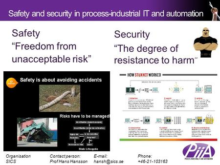 Safety and security in process-industrial IT and automation OrganisationContact person: Phone: SICSProf Hans Security.