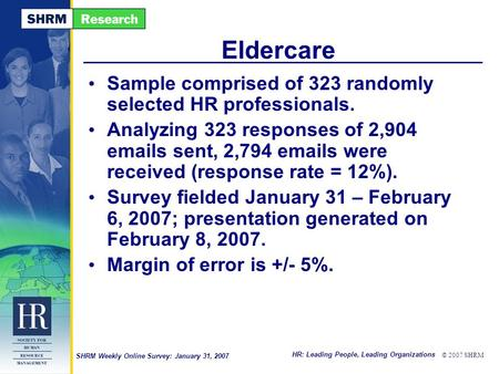 HR: Leading People, Leading Organizations © 2007 SHRM SHRM Weekly Online Survey: January 31, 2007 Eldercare Sample comprised of 323 randomly selected HR.