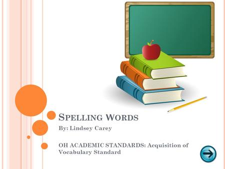 S PELLING W ORDS By: Lindsey Carey OH ACADEMIC STANDARDS: Acquisition of Vocabulary Standard.
