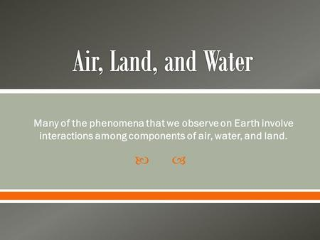  Many of the phenomena that we observe on Earth involve interactions among components of air, water, and land.