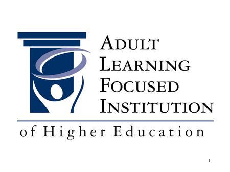 1. 2 ALFI: Focus on Adult Learner Assessment The National Institute on the Assessment of Adult learning 2010 Judy Wertheim, Ed.D. Vice President for Higher.