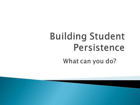 "What can you do?.  ""Persistence can been seen as being comprised of two parts: intensity (hours of instruction per month) and duration (months of engagement."