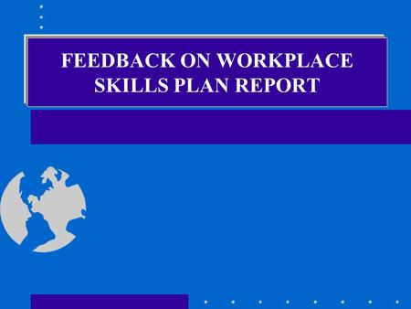 FEEDBACK ON WORKPLACE SKILLS PLAN REPORT Why WSP Analysis/Report Skills gaps/imbalances in the supply and demand for skilled labour are identified Strategic.