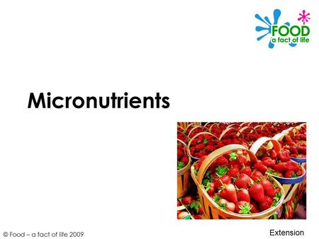 © Food – a fact of life 2009 Micronutrients Extension.