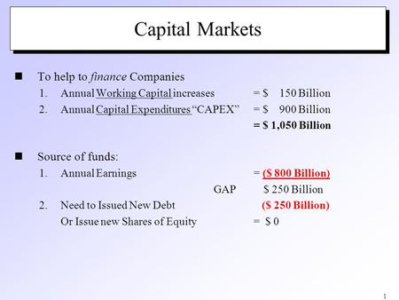 "1 Capital Markets To help to finance Companies 1.Annual Working Capital increases = $ 150 Billion 2.Annual Capital Expenditures ""CAPEX"" = $ 900 Billion."