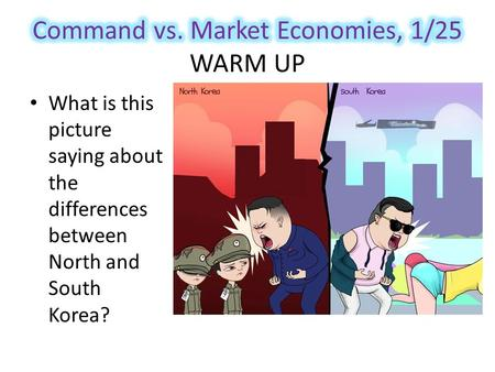 What is this picture saying about the differences between North and South Korea?