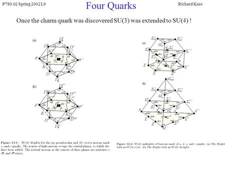 P780.02 Spring 2002 L9Richard Kass Four Quarks Once the charm quark was discovered SU(3) was extended to SU(4) !