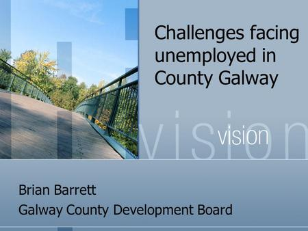 Challenges facing unemployed in County Galway Brian Barrett Galway County Development Board.