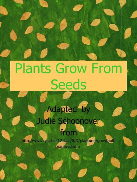 Plants Grow From Seeds Adapted by Judie Schoonover from  eanseed.htm.