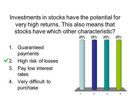 Investments in stocks have the potential for very high returns
