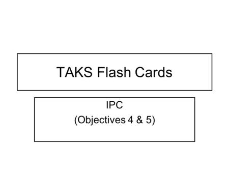 TAKS Flash Cards IPC (Objectives 4 & 5). Transverse Wave The medium moves perpendicular to the wave.