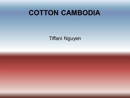 COTTON CAMBODIA Tiffani Nguyen. INTRODUCTION  Cambodia is located at the southern portion of the Indochina Peninsula in Southeast Asia. It is bordered.