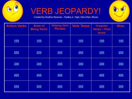 VERB JEOPARDY! Created by Heather Beaman – Hadley Jr. High, Glen Ellyn, Illinois Action Verbs State of Being Verbs Helping Verb Phrases Verb Tense Irregular.